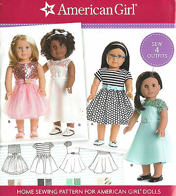 """18"""" AMERICAN GIRL DOLL Party Dresses Simplicity D0543 Sewing Pattern 8039 0543"""