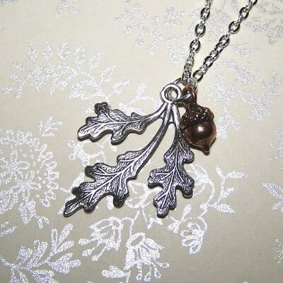 Acorn & Oak Leaf Necklace, sterling silver & copper, Autumn Jewelry Thanksgiving