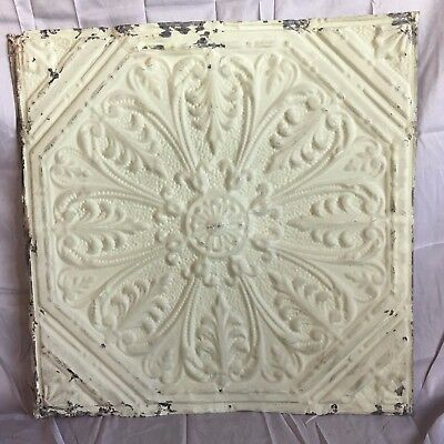 "1890's 24"" x 24"" Antique Reclaimed Tin Ceiling Tile Green 497-17 Anniversary"