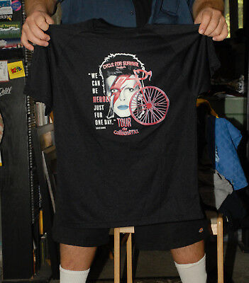 David Bowie Cycle For Survival Bicycle Fundraiser Jersey T Shirt Ziggy Stardust