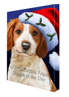 Christmas Brittany Spaniel Dog Holiday Portrait with Santa Hat Canvas Wall Art