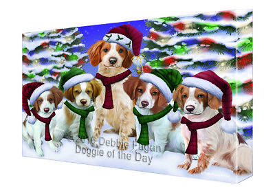 Brittany Spaniel Dog Christmas Family Portrait in Holiday Canvas Wall Art