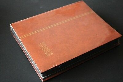 GB Stamps STOCKBOOK: LINDNER No. 1169 S Tan with 48 Black Pages WRAPPED vgc