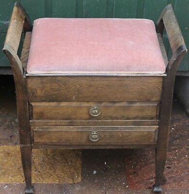 Good Old Solid And Useable Wooden Piano Stool With 2 Music Drawers To Polish Up