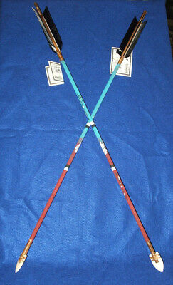 "Set of 2 Hand Painted Arrows Native American made 33""  White Buffalo #05"