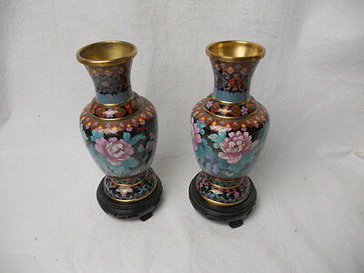 """Vintage Chinese Cloisonne Brass 8 1/8"""" Vases Pink Flowers And Leaves"""