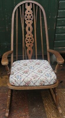 Good Old Solid Wooden High Wheel Backed Rocking Chair With Removeable Seat