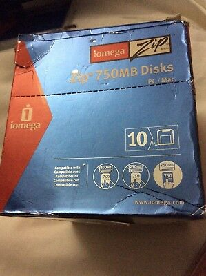 10 x Iomega ZIP 750MB Disks + Jewel Cases New and  Sealed in original outer box