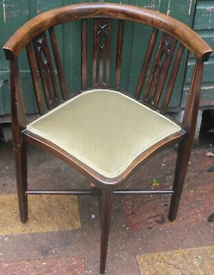 Good Looking Inlaid Wooden Bow Backed Corner Chair  (1