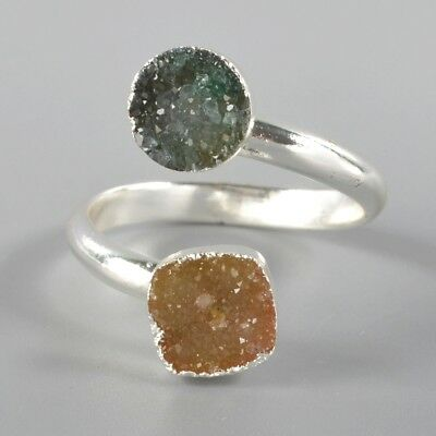 Size 7.5 Yellow & Green Agate Druzy Geode Adjustable Ring Silver Plated H99344