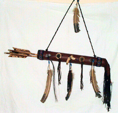 "Round 20"" Fringed Leather Quiver w/ 2 Arrows  Native American Navajo #11"