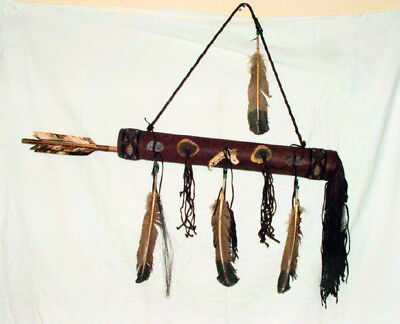 "Round 20"" Fringed Leather Quiver w/ 2 Arrows  Native American Navajo #12"