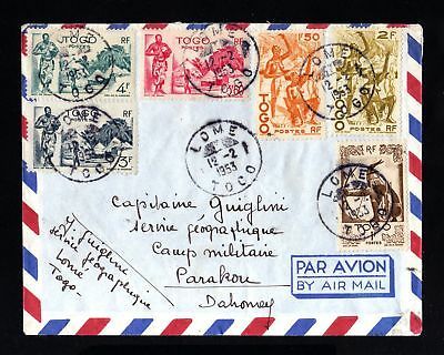 16361-TOGO-AIRMAIL military COVER LOME to PARAKOU (dahomey)1953.camp militaire.