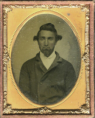 c1860 Ambrotype Portrait Young Man with Goatee and Knot Top Hair, Cased Image NY