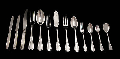 FRENCH ANTIQUE STERLING SILVER FLATWARE SET, 1850-1899, 242pcs, SERVICE FOR 18