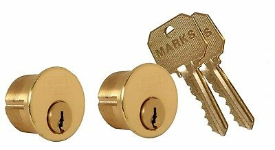 """1- Pare Marks Solid Brass mortise lock cylinder, 1"""" For The Marks 22AC Lock"""