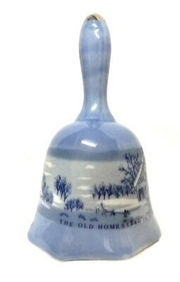 Currier and Ives Bell Porcelain Blue White Homestead Wintertime Dinner Vintage