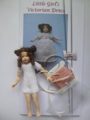 Knitting kit - 1:12 scale long dress for 4 inch girl doll + Heidi Ott doll