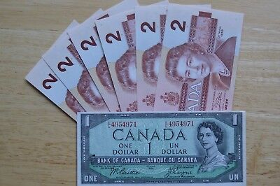7  Canadian Bills - 6 x 1986 $2.00  &  1 x 1954 $1.00   Uncuirculated  -  Crisp