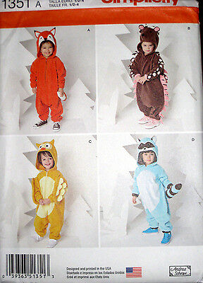 Simplicity Toddlers Animal Fox Owl Raccoon  Costume Sewing Pattern 1351 UC 1/2-4
