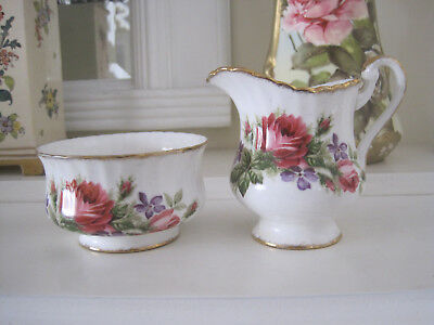 Paragon Deep Pink Roses Fine Bone China Sugar Bowl And Creamer Jug