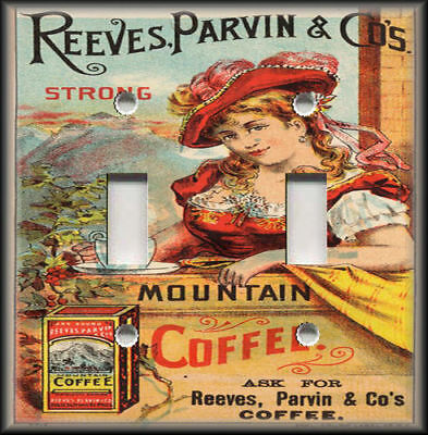 Metal Light Switch Plate Cover - Vintage Coffee Advertising Home Decor Kitchen