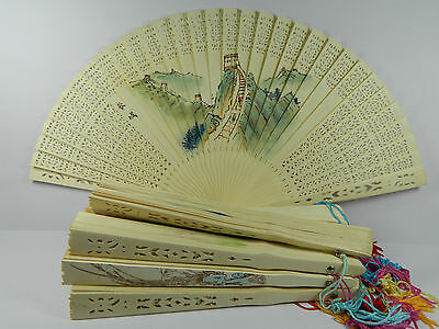 Wholesale 10 Chinese Wooden Folding Hand Fan,Hollow-Out,10 Different Design
