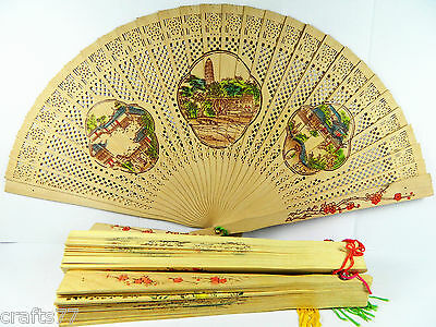 5 Chinese Wooden Folding Hand Fan,Hollow-Out,Double Side Paint,Different Design