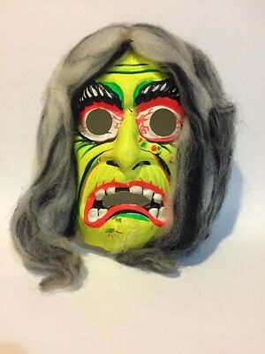 VTG Witch Gypsy Monster HALLOWEEN MASK Plastic COSTUME 60s Neon Hair Decoration