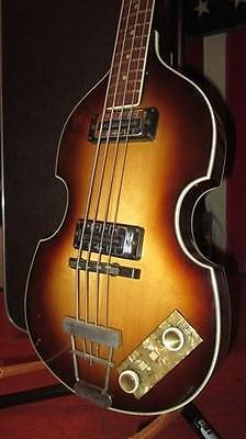 Vintage Circa 1967 Hofner Model 500/1 Beatle Bass Sunburst With Hard Shell Case