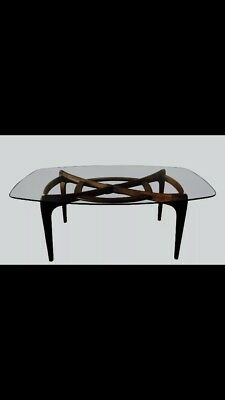 Mid century modern walnut  wood Glass dining table and chairs