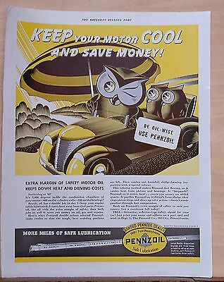 1937 magazine ad for Pennzoil - Owl family drive in summer heat, Keep motor cool