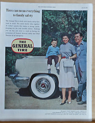 1953 magazine ad for General Tires - Cyd Charisse, Tony Martin & son, safety
