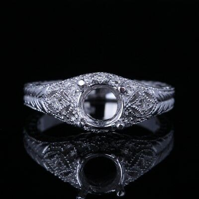 6.5Mm Round Vintage Antique Jewelry Semi Mount Setting Ring Solid 14K White Gold