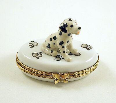 New Authentic French Limoges Trinket Box Dalmatian Dog Puppy On Dog Paw Prints