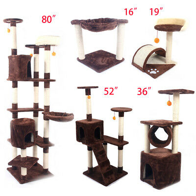 """16""""19""""36""""52""""80"""" Pet Cat Tree Play House Tower Condo Bed Scratch Post Toy"""