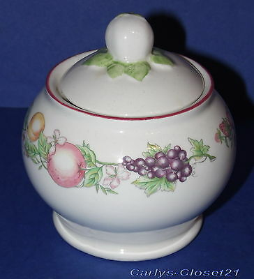 BOOTS * Lidded Pottery Sugar Bowl * Orchard Design *