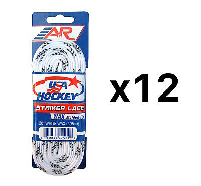 A&R Sports USA Hockey Laces - Waxed Striker Laces - White 120 Inches (12-Pack)