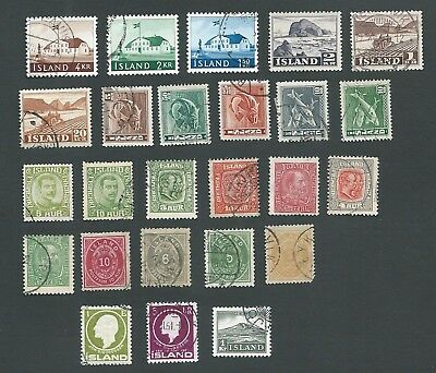 Iceland. 25 Different Good Used Old Definitive Stamps