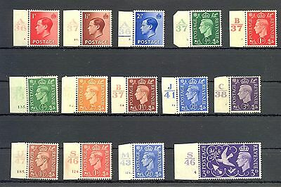 England  14 Stamps  */**   Plate Numbers