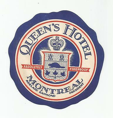 HOTEL QUEEN'S luggage CANADA label (MONTREAL)