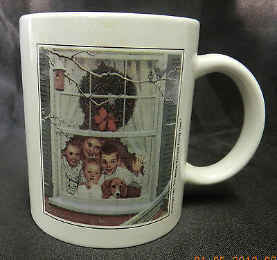 Norman Rockwell 1951 Family Trust Christmas Holiday Window Mug Cup Collectible