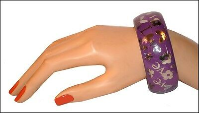 Beautiful Designer Inspired Purple Resin Bangle With Silver Metal Inserts
