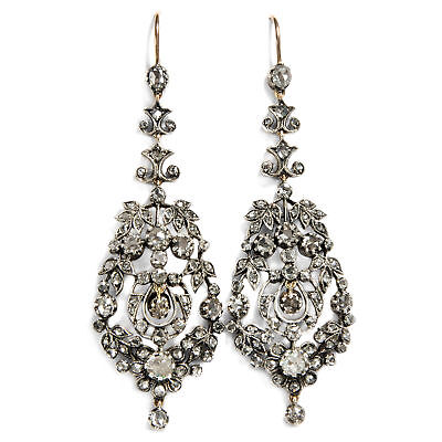 Antique Chandelier Earrings: Diamonds Silver & Gold around 1890/Diamond Roses