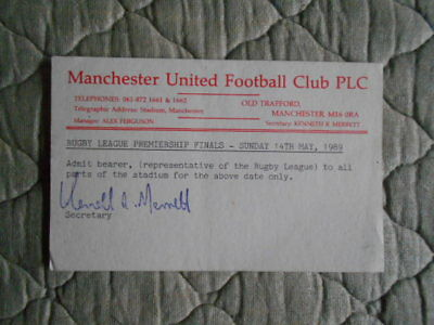 Man Utd Postcard To Admit Bearer To All Parts Of Stadium R.l Prem Final 1989