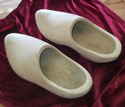 Vintage Hand Carved Wooden Dutch Clogs