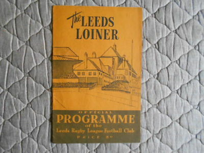 Leeds V Hull Rugby League Match Programme November 1957
