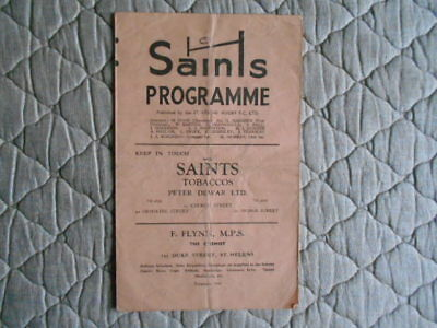 St Helens V Blackpool Borough Rugby League Match Programme January 1955