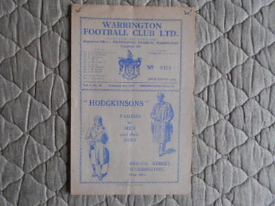 Warrington V Wigan Rugby League Match Programme February 1947