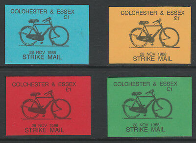 GB 5890 - Colchester & Essex STRIKE MAIL £1 Bicycle x 4 imperf proofs